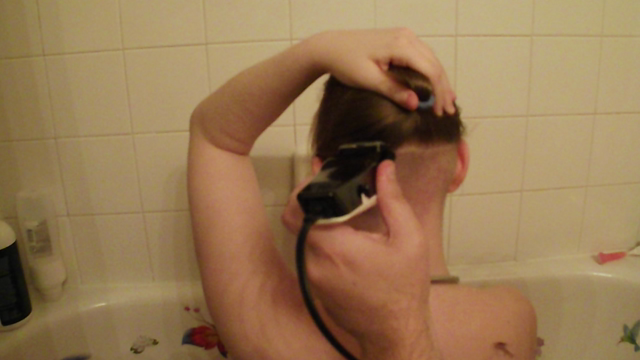 Nape Shave In The Tub